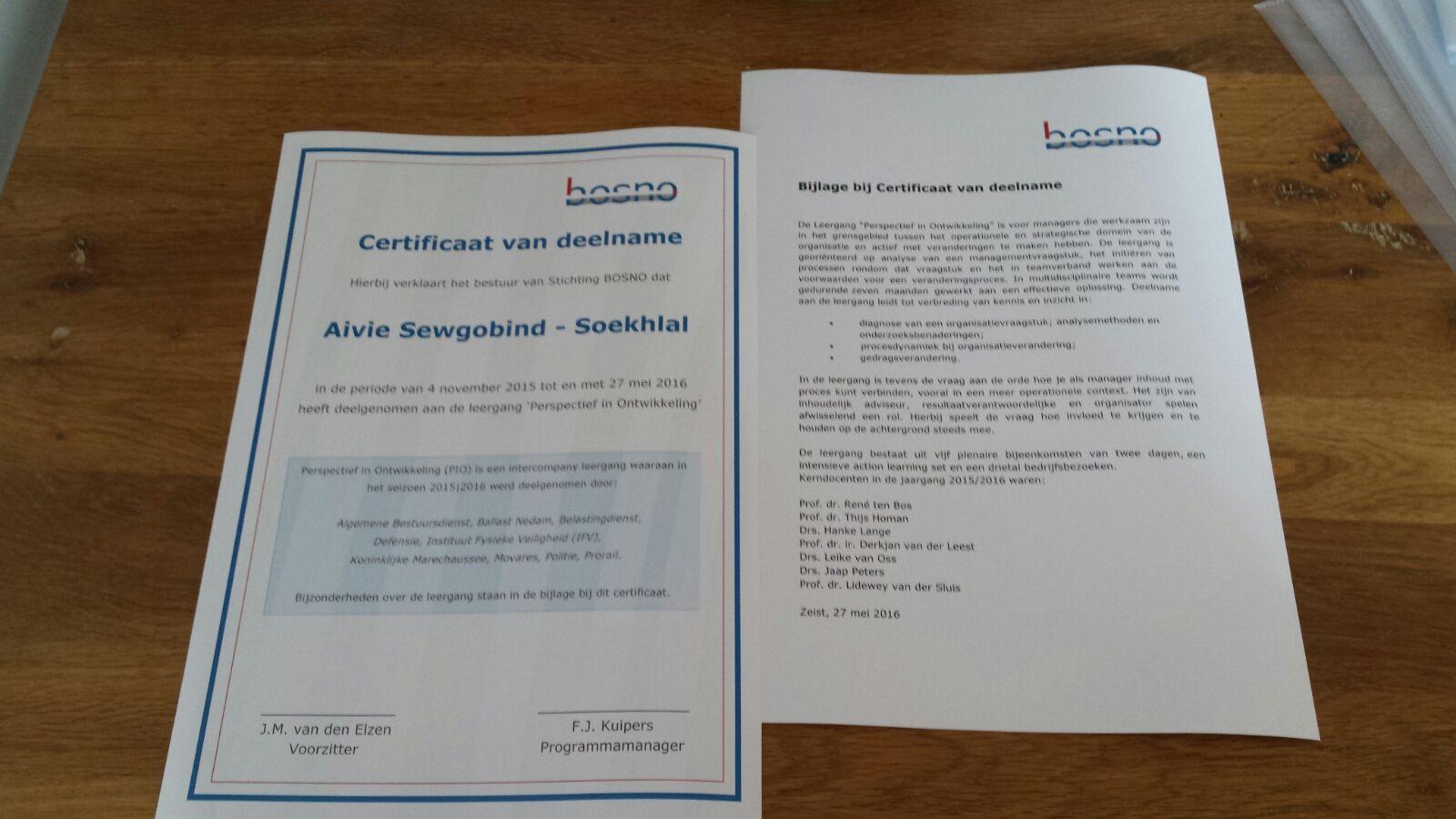 BOSNO certificaten leergang 2015/2016